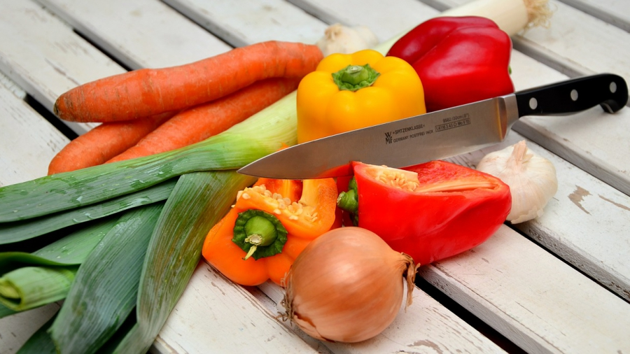 vegetables and knife